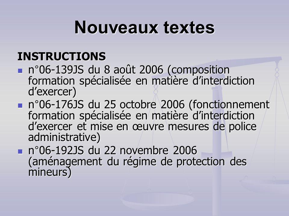 Nouveaux textes INSTRUCTIONS