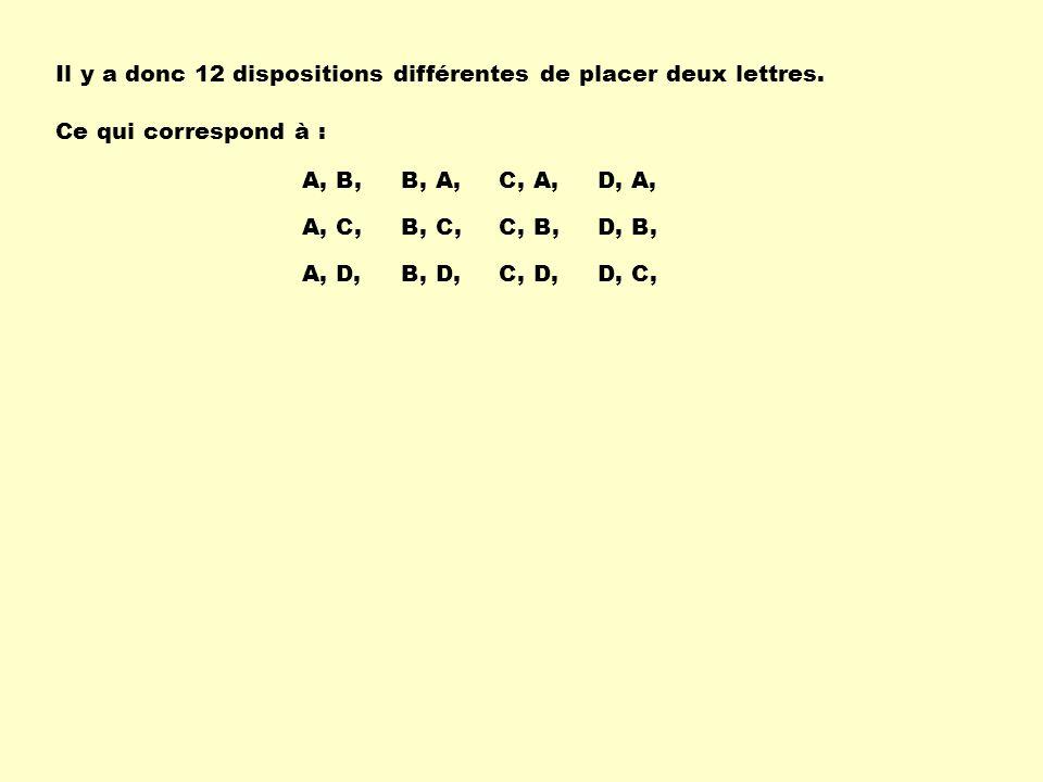 Il y a donc 12 dispositions différentes de placer deux lettres.