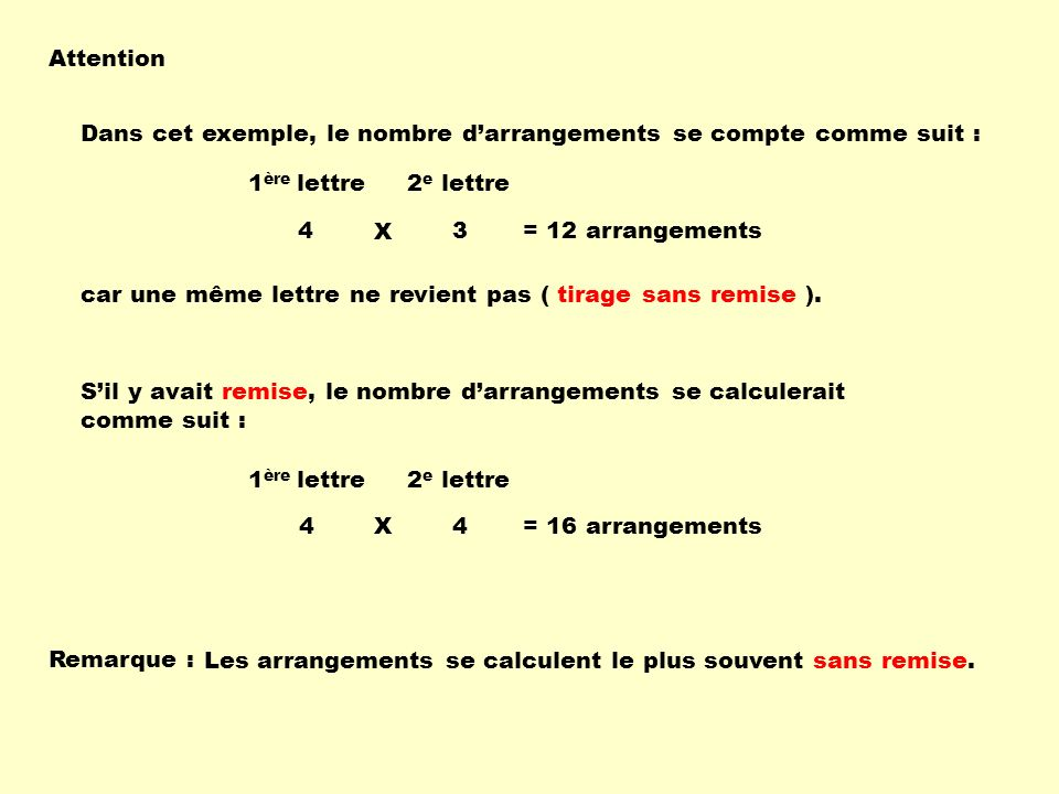 Attention Dans cet exemple, le nombre d'arrangements se compte comme suit : 1ère lettre. 2e lettre.