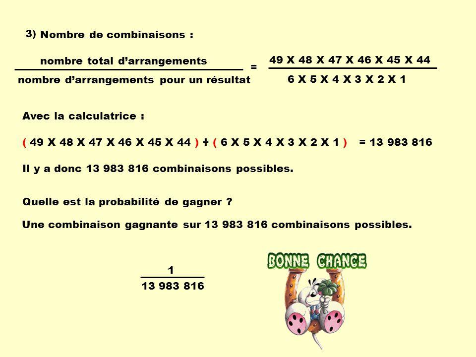 3) Nombre de combinaisons : nombre d'arrangements pour un résultat. nombre total d'arrangements. 49 X 48 X 47 X 46 X 45 X 44.