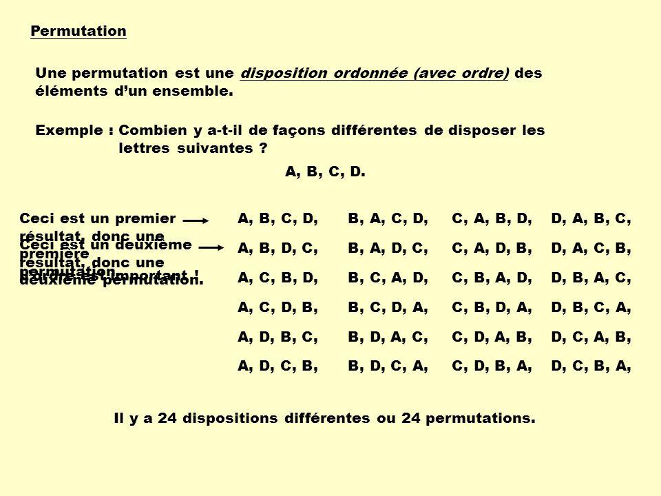 Permutation Une permutation est une disposition ordonnée (avec ordre) des éléments d'un ensemble. Exemple :