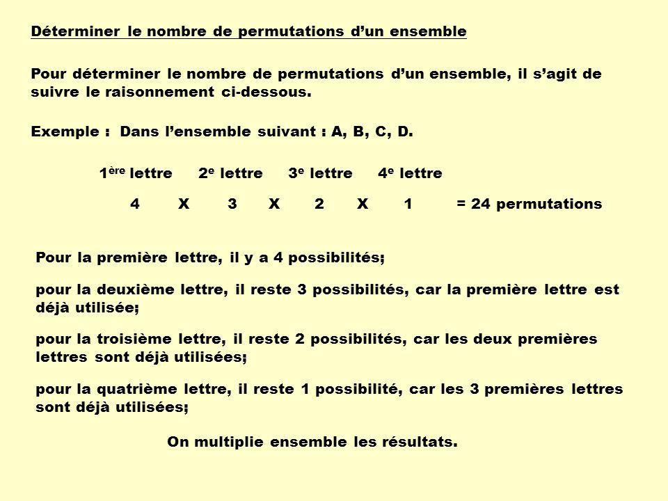 Déterminer le nombre de permutations d'un ensemble