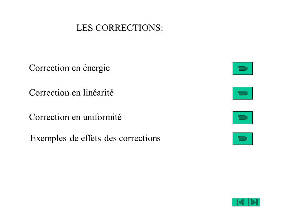 LES CORRECTIONS: Correction en énergie. Correction en linéarité.
