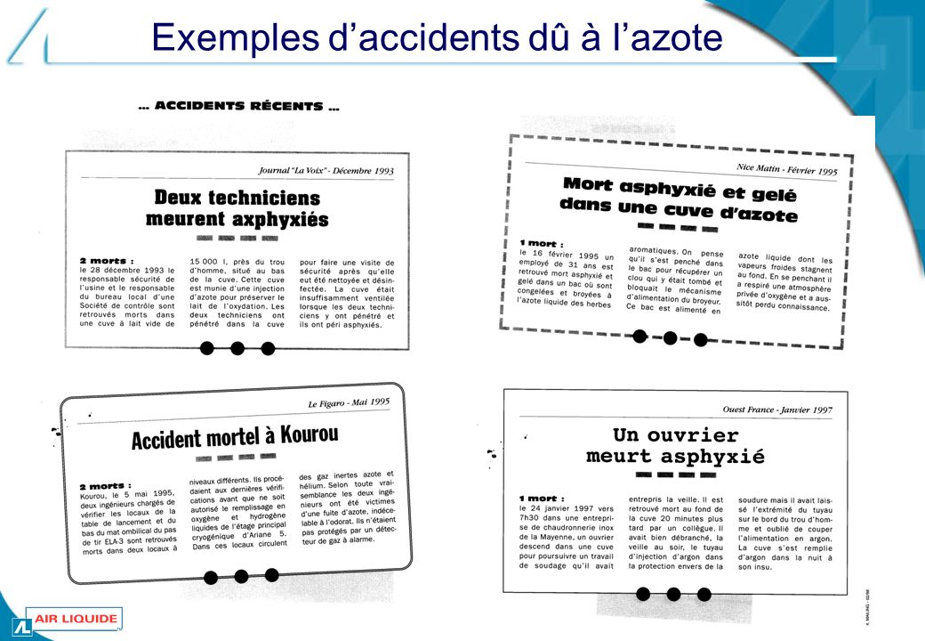 Exemples d'accidents dû à l'azote