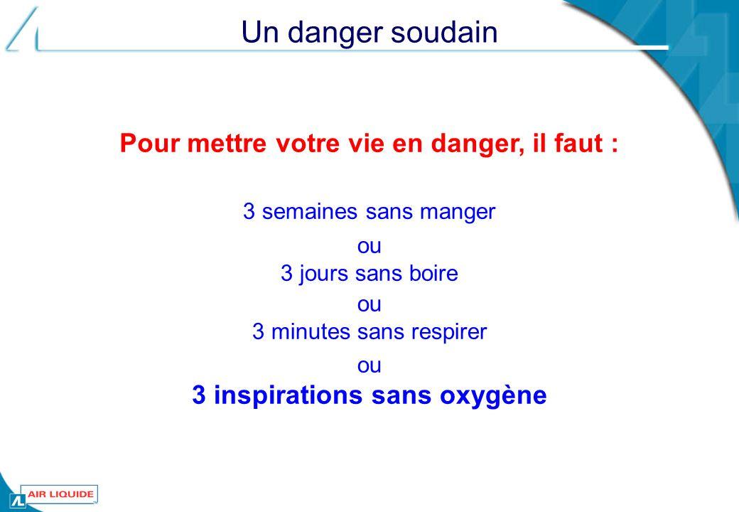 Pour mettre votre vie en danger, il faut : 3 inspirations sans oxygène