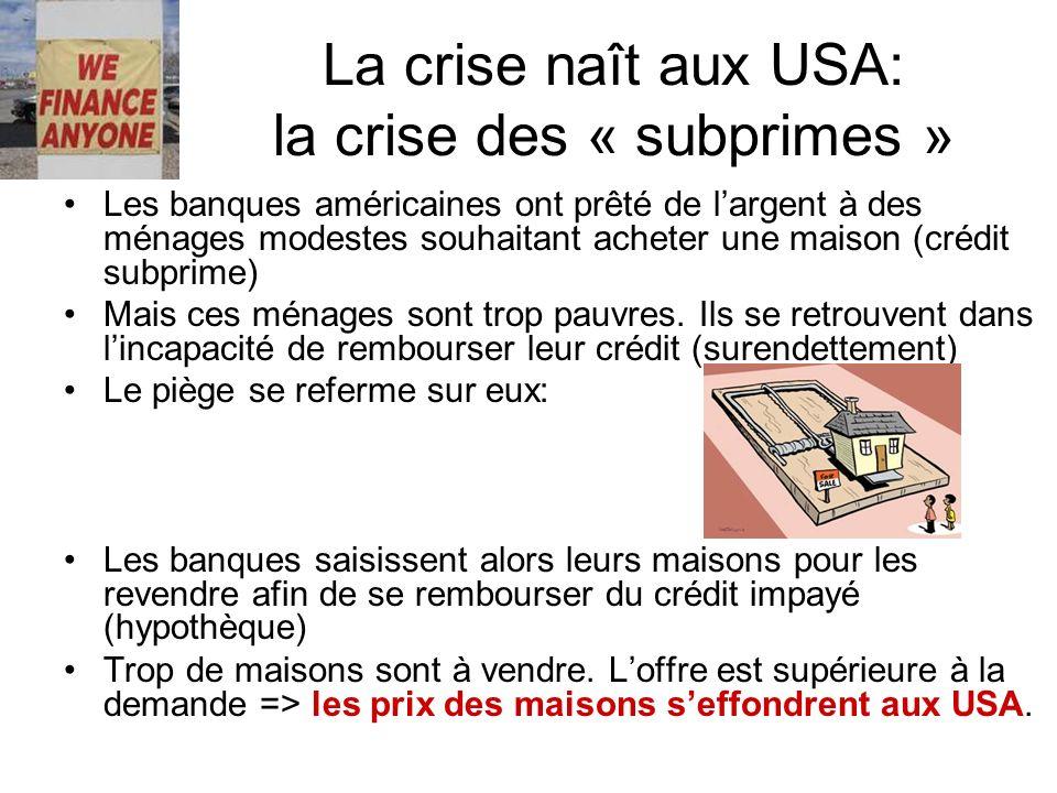 La crise naît aux USA: la crise des « subprimes »