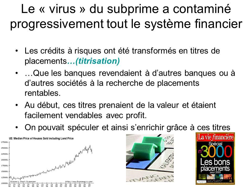 Le « virus » du subprime a contaminé progressivement tout le système financier