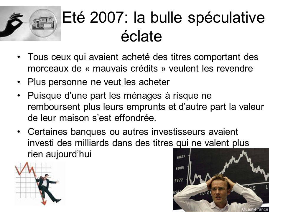 Eté 2007: la bulle spéculative éclate
