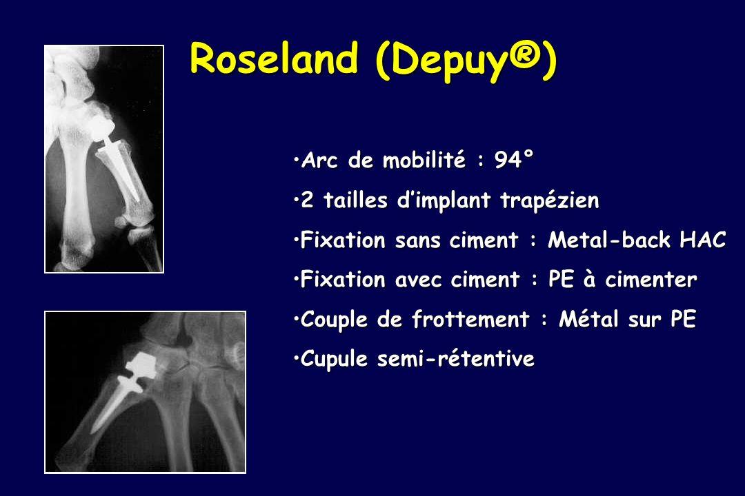 Roseland (Depuy®) Arc de mobilité : 94° 2 tailles d'implant trapézien