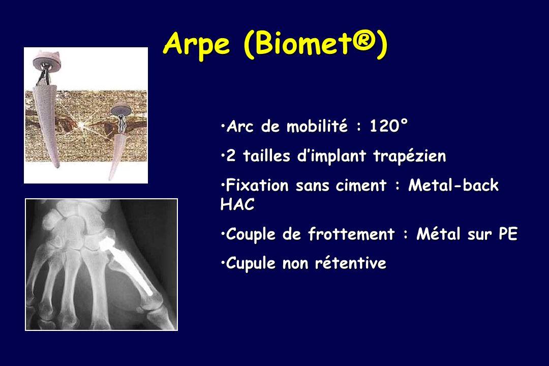 Arpe (Biomet®) Arc de mobilité : 120° 2 tailles d'implant trapézien