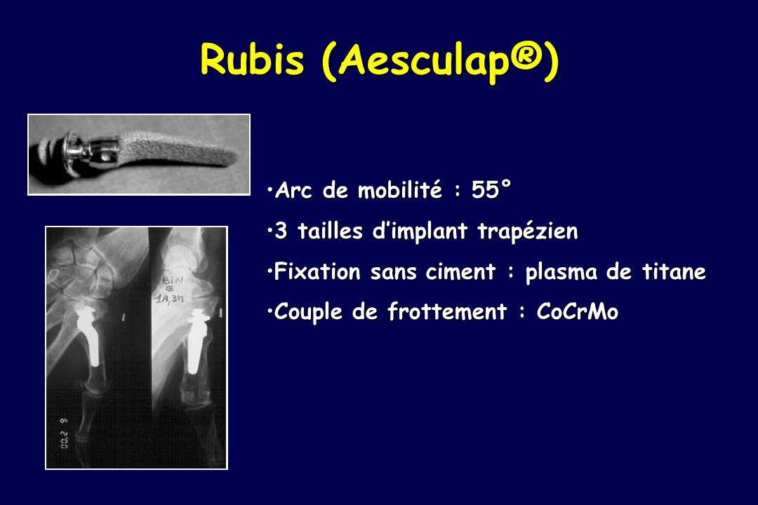 Rubis (Aesculap®) Arc de mobilité : 55° 3 tailles d'implant trapézien