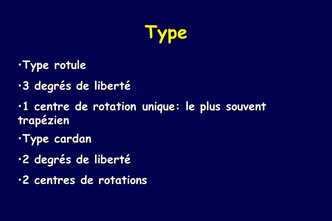 Type Type rotule 3 degrés de liberté