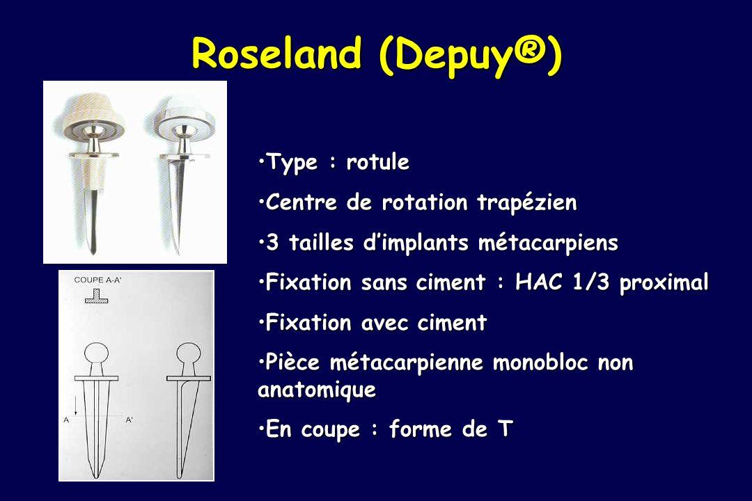 Roseland (Depuy®) Type : rotule Centre de rotation trapézien
