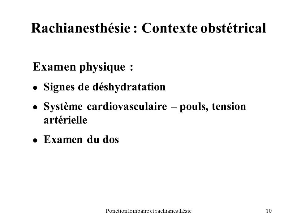 Rachianesthésie : Contexte obstétrical