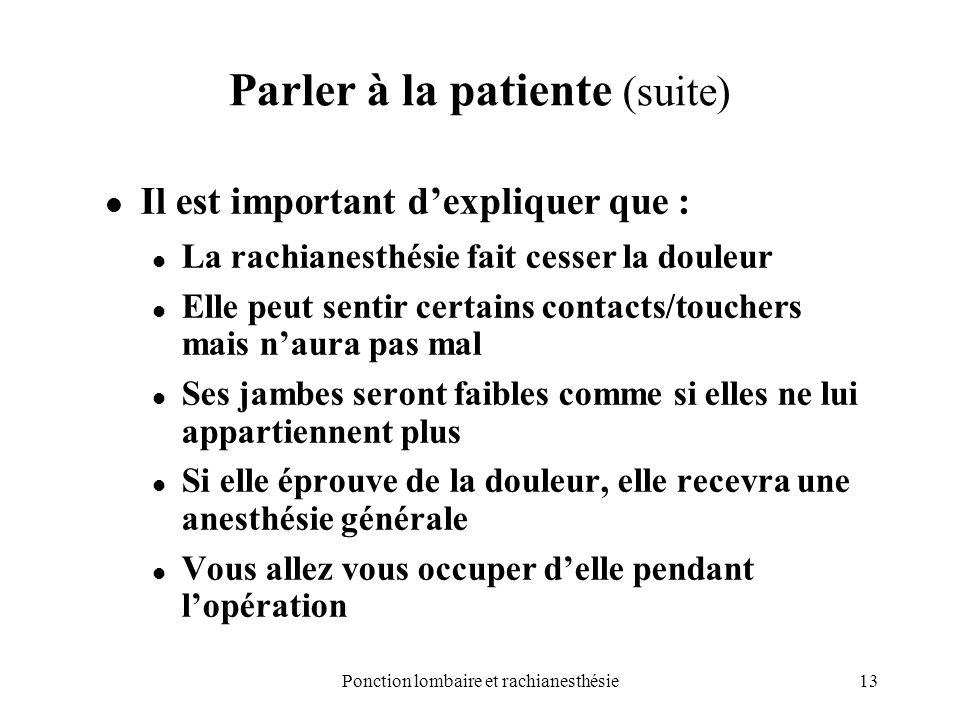 Parler à la patiente (suite)