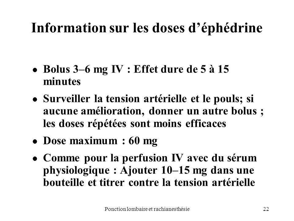 Information sur les doses d'éphédrine