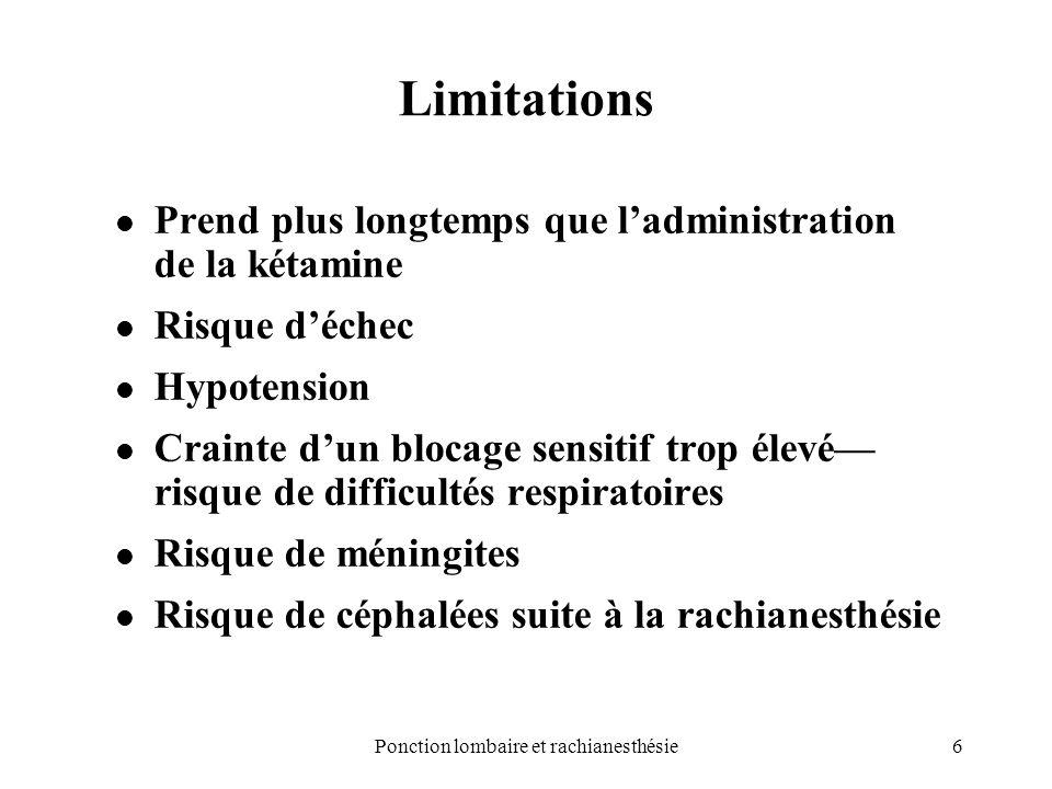 Ponction lombaire et rachianesthésie