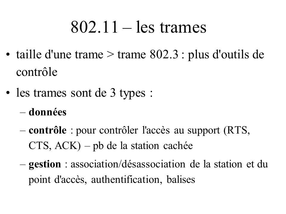 802.11 – les trames taille d une trame > trame 802.3 : plus d outils de contrôle. les trames sont de 3 types :