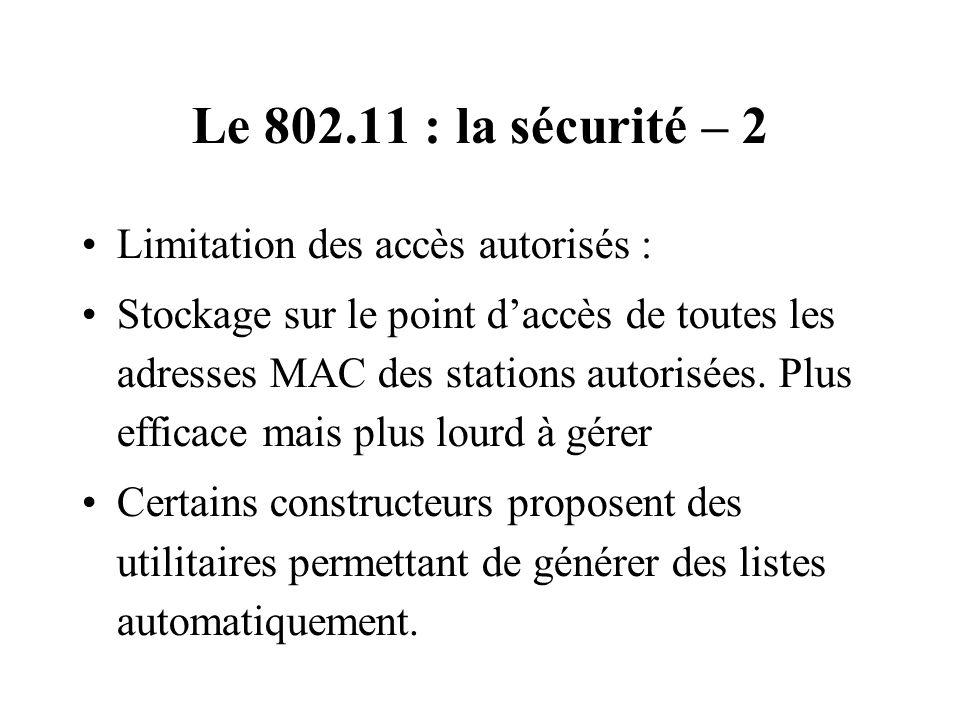 Le 802.11 : la sécurité – 2 Limitation des accès autorisés :