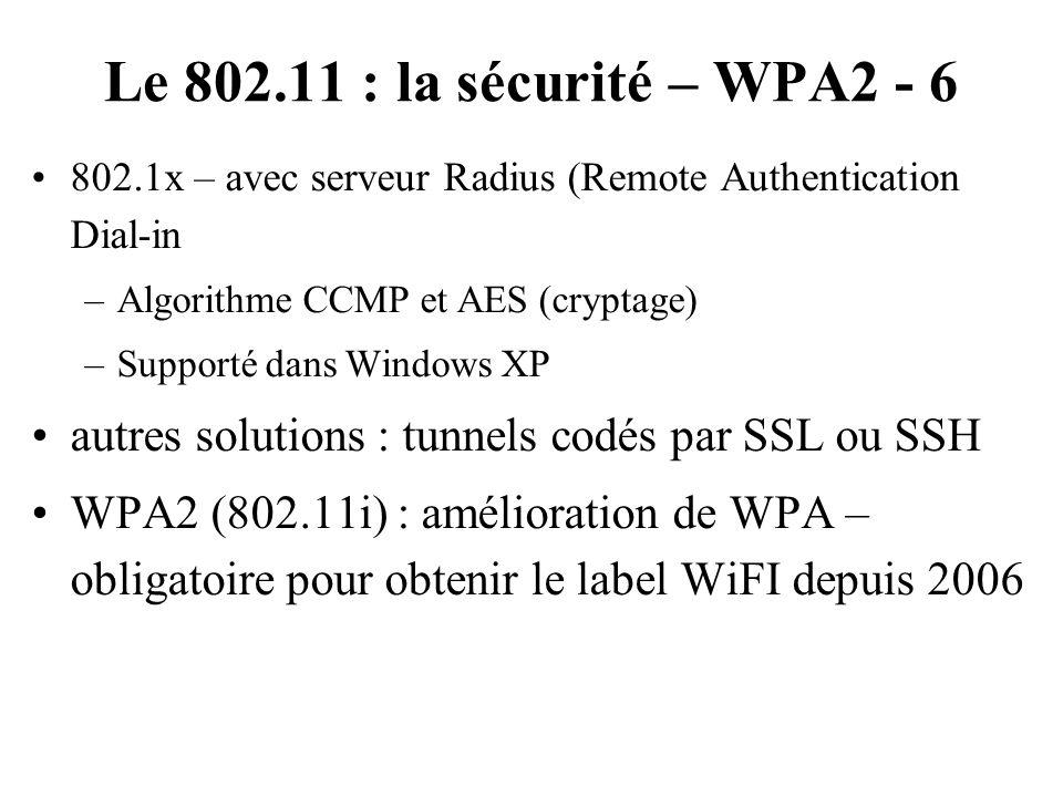 Le 802.11 : la sécurité – WPA2 - 6 802.1x – avec serveur Radius (Remote Authentication Dial-in. Algorithme CCMP et AES (cryptage)