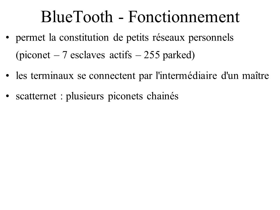 BlueTooth - Fonctionnement