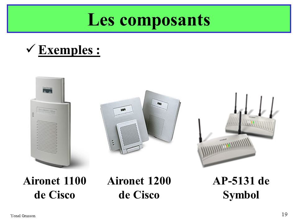 Les composants Exemples : Aironet 1100 de Cisco Aironet 1200 de Cisco