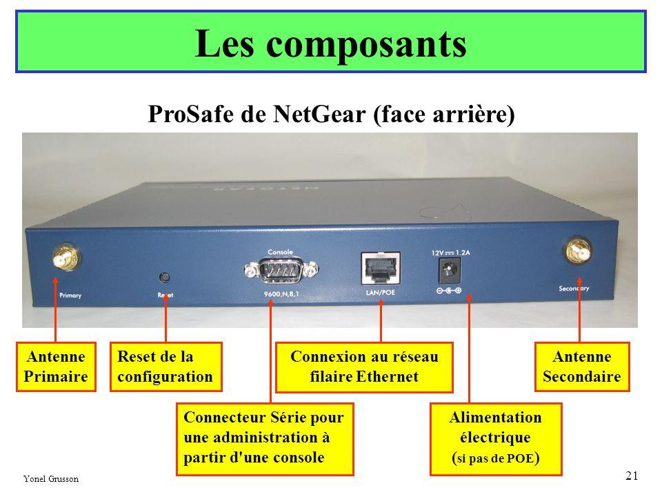 Les composants ProSafe de NetGear (face arrière) Antenne Primaire