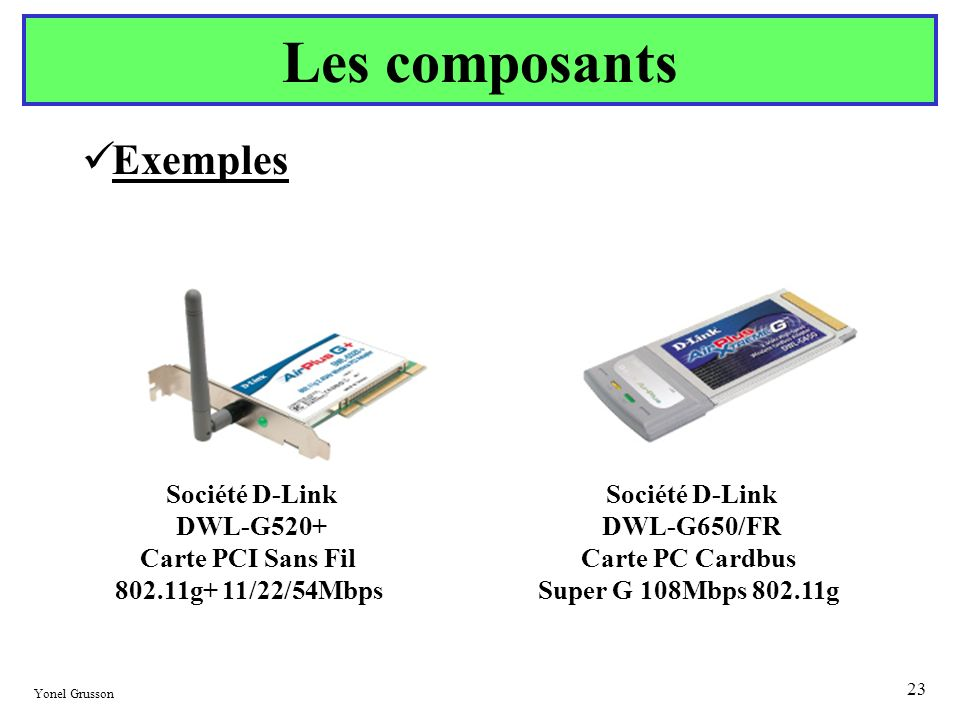DWL-G520+ Carte PCI Sans Fil DWL-G650/FR Carte PC Cardbus
