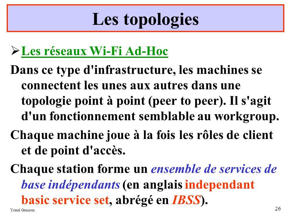 Les topologies Les réseaux Wi-Fi Ad-Hoc