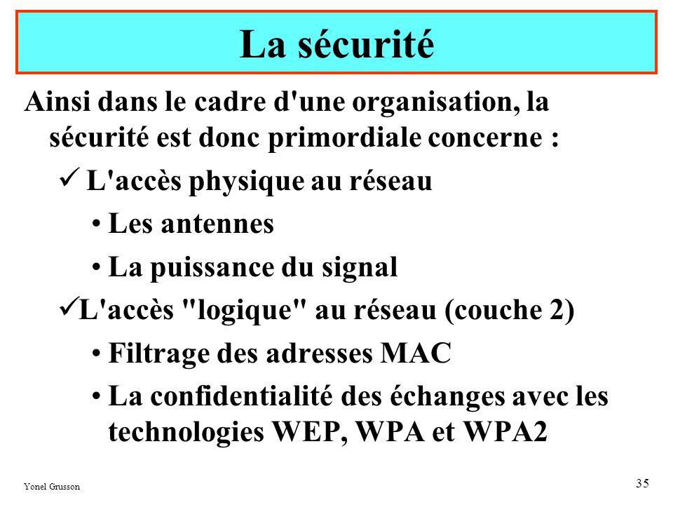 La sécurité Ainsi dans le cadre d une organisation, la sécurité est donc primordiale concerne : L accès physique au réseau.