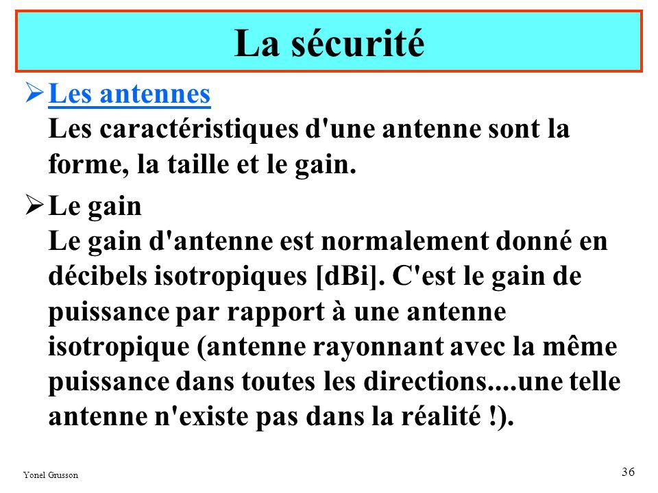 La sécurité Les antennes Les caractéristiques d une antenne sont la forme, la taille et le gain.