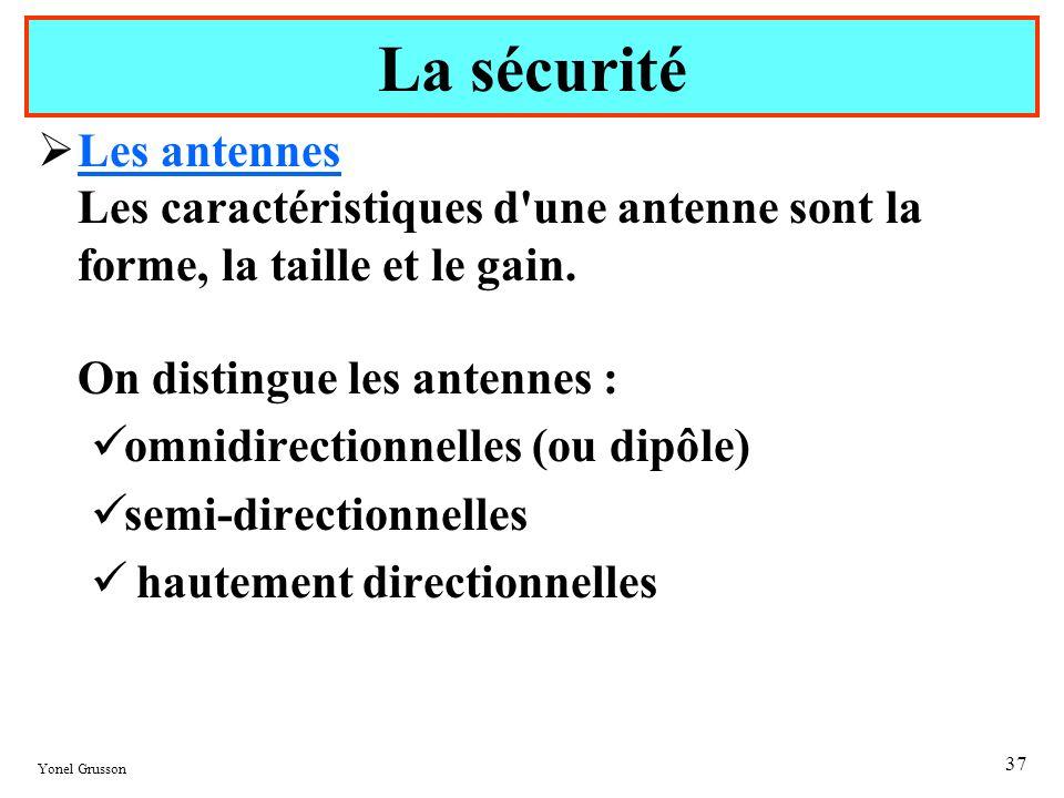 La sécurité Les antennes Les caractéristiques d une antenne sont la forme, la taille et le gain. On distingue les antennes :