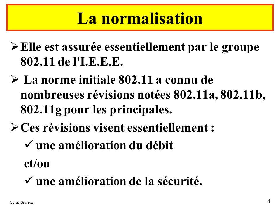 La normalisationElle est assurée essentiellement par le groupe 802.11 de l I.E.E.E.