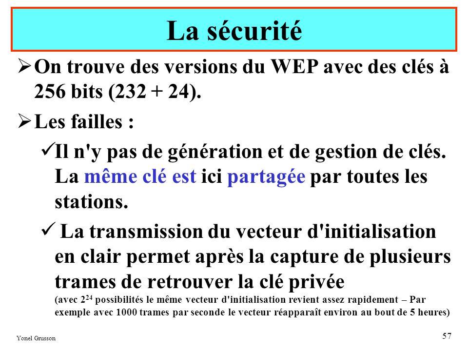 La sécurité On trouve des versions du WEP avec des clés à 256 bits (232 + 24). Les failles :
