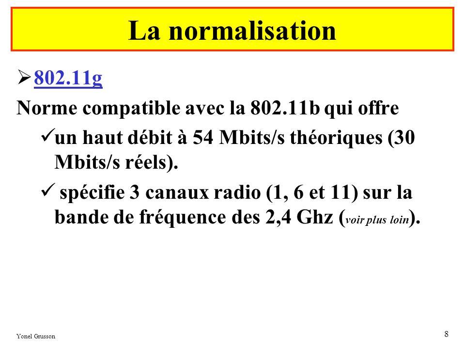 La normalisation 802.11g Norme compatible avec la 802.11b qui offre