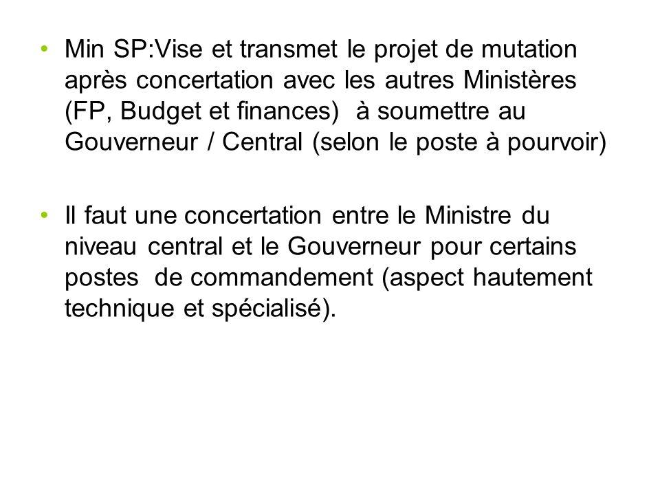 Min SP:Vise et transmet le projet de mutation après concertation avec les autres Ministères (FP, Budget et finances) à soumettre au Gouverneur / Central (selon le poste à pourvoir)