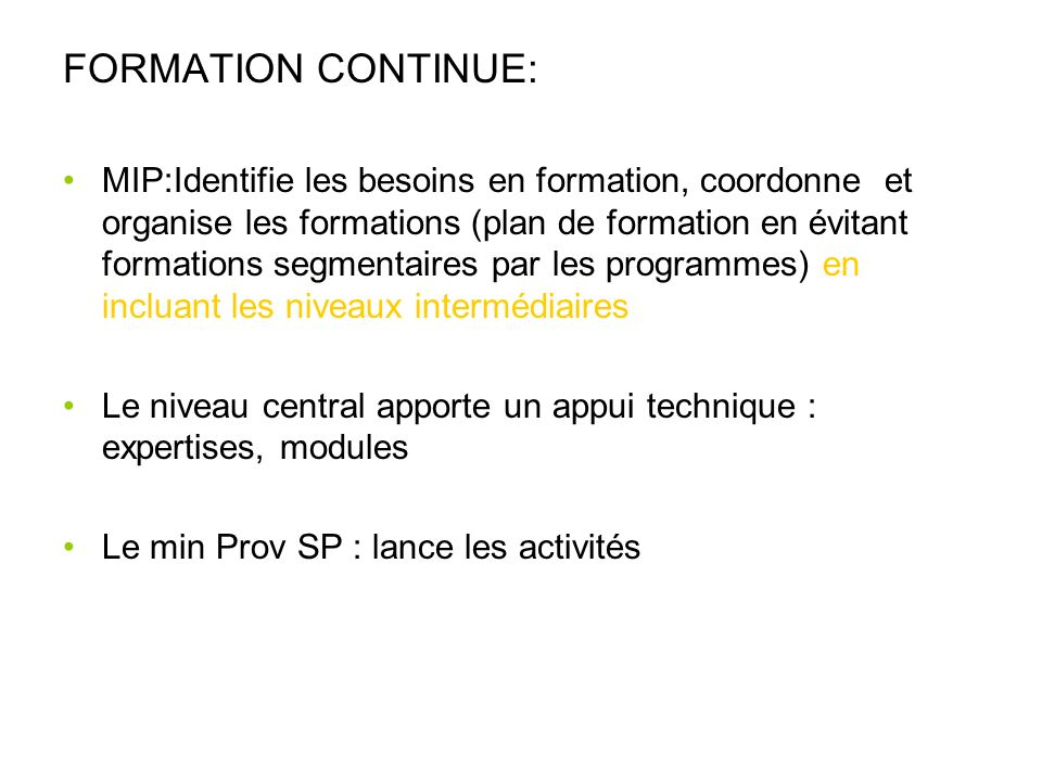FORMATION CONTINUE: