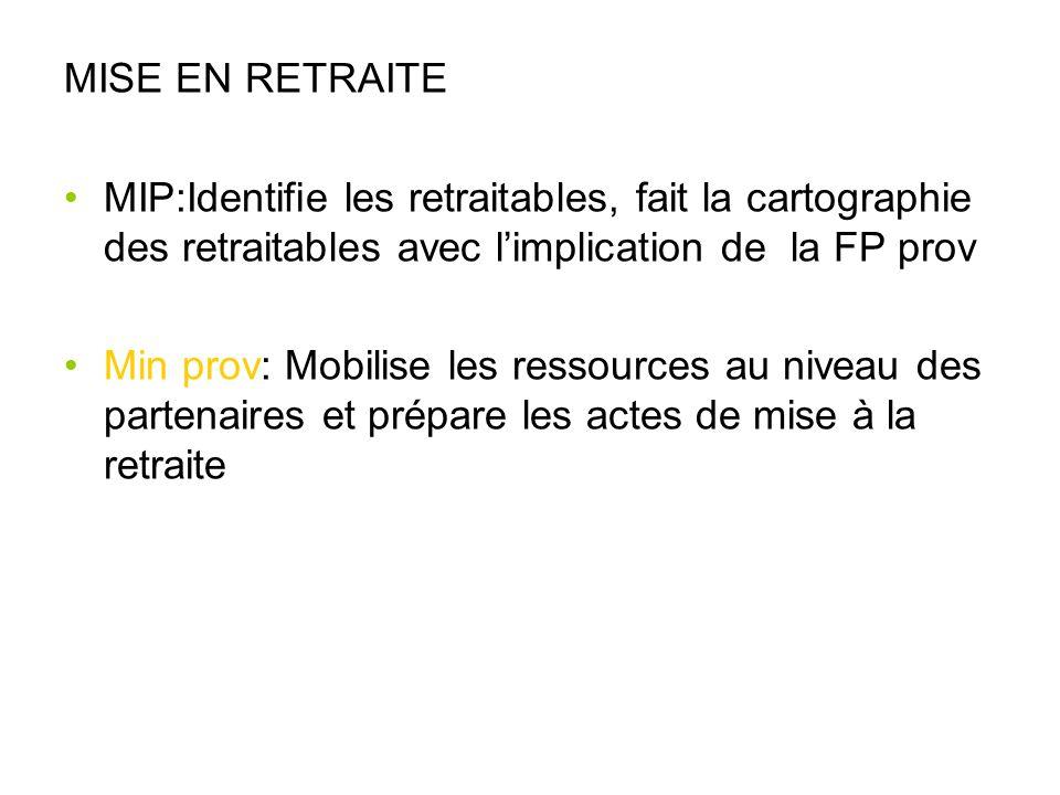 MISE EN RETRAITE MIP:Identifie les retraitables, fait la cartographie des retraitables avec l'implication de la FP prov.