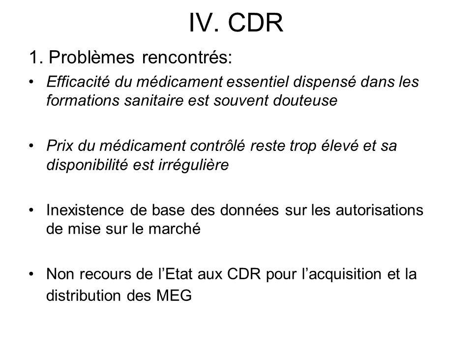 IV. CDR 1. Problèmes rencontrés: