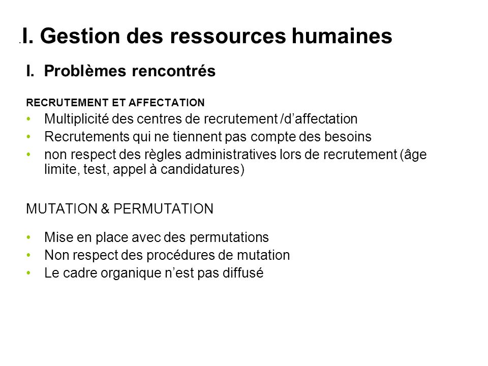 .I. Gestion des ressources humaines