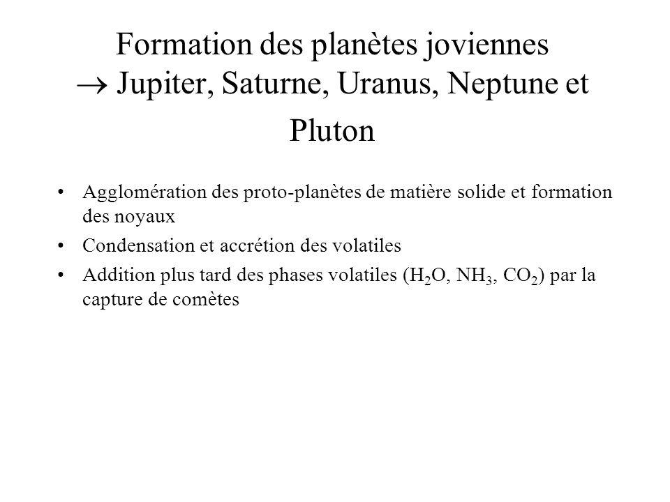 Formation des planètes joviennes  Jupiter, Saturne, Uranus, Neptune et Pluton