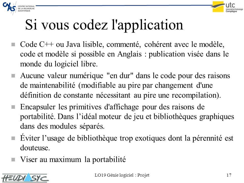 Si vous codez l application