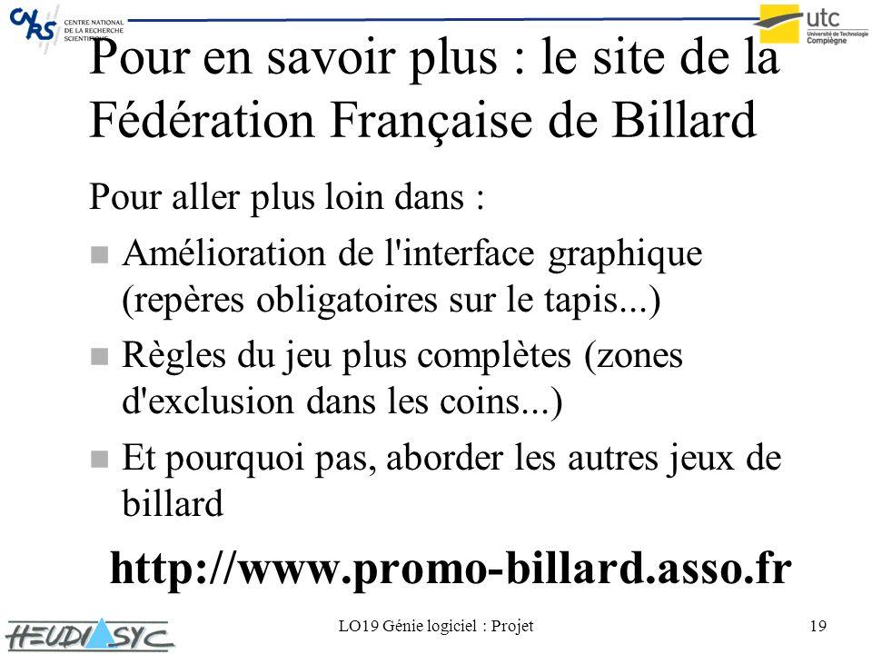 Pour en savoir plus : le site de la Fédération Française de Billard