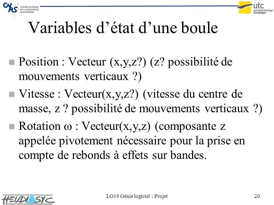Variables d'état d'une boule