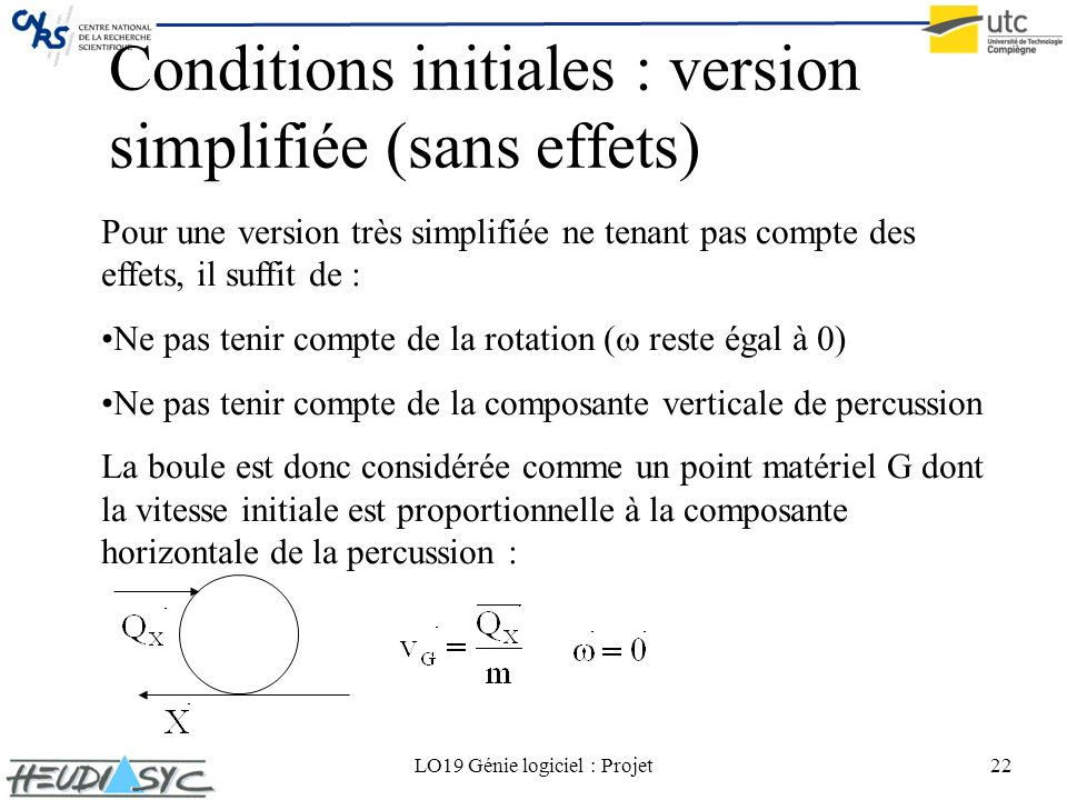 Conditions initiales : version simplifiée (sans effets)