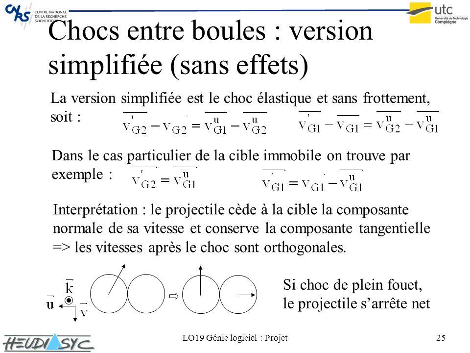 Chocs entre boules : version simplifiée (sans effets)