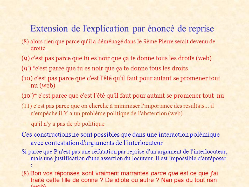 Extension de l explication par énoncé de reprise