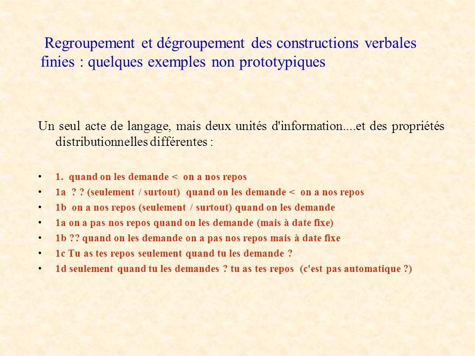 Regroupement et dégroupement des constructions verbales finies : quelques exemples non prototypiques