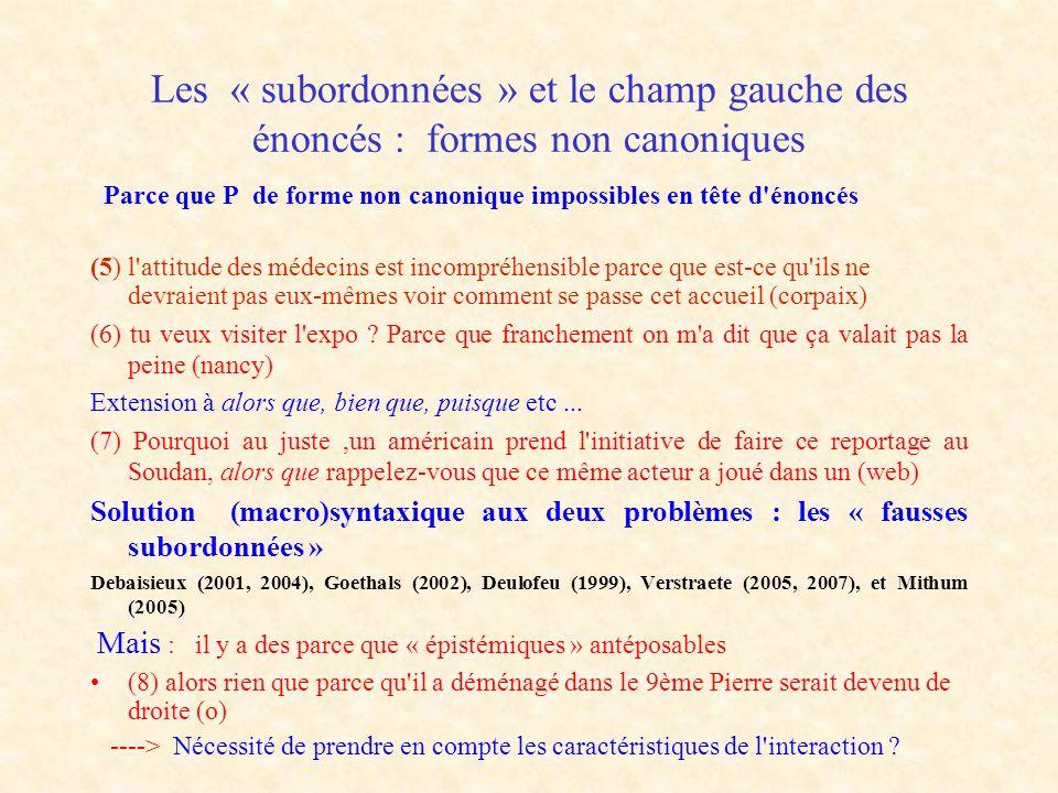 Les « subordonnées » et le champ gauche des énoncés : formes non canoniques