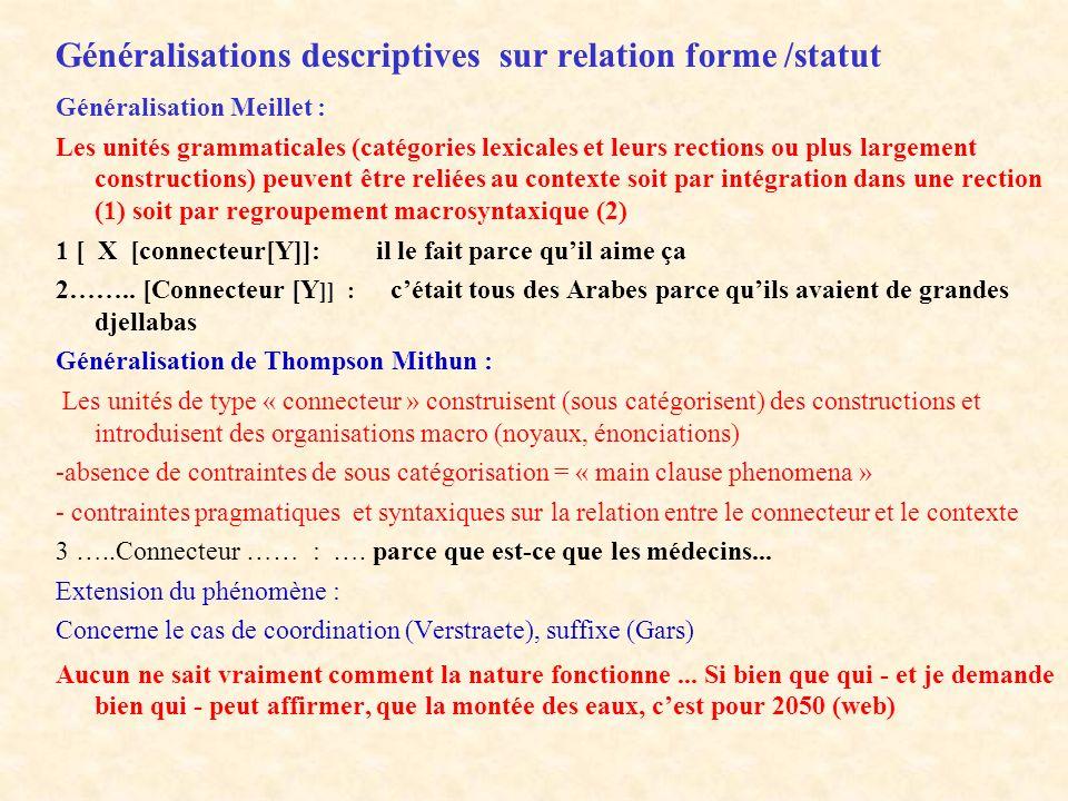 Généralisations descriptives sur relation forme /statut